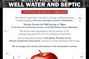 Pakenham Public Meeting – Well Water and Septic